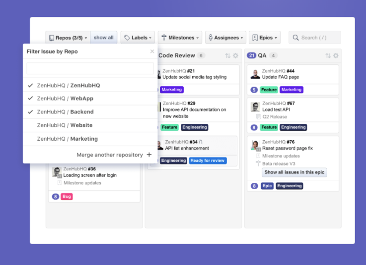 ZenHub Software - Multi-Repository Boards allow teams to build workspaces custom to their workflow