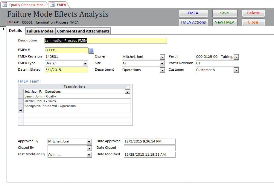 SBS Quality Database Software - Failure mode effects analysis