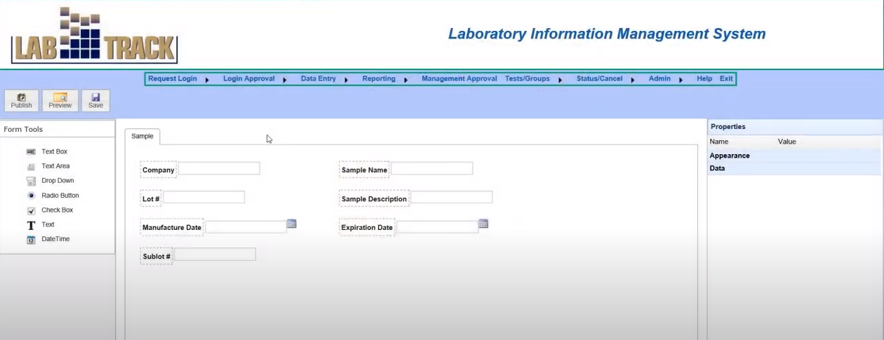 LABTRACK LIMS create forms