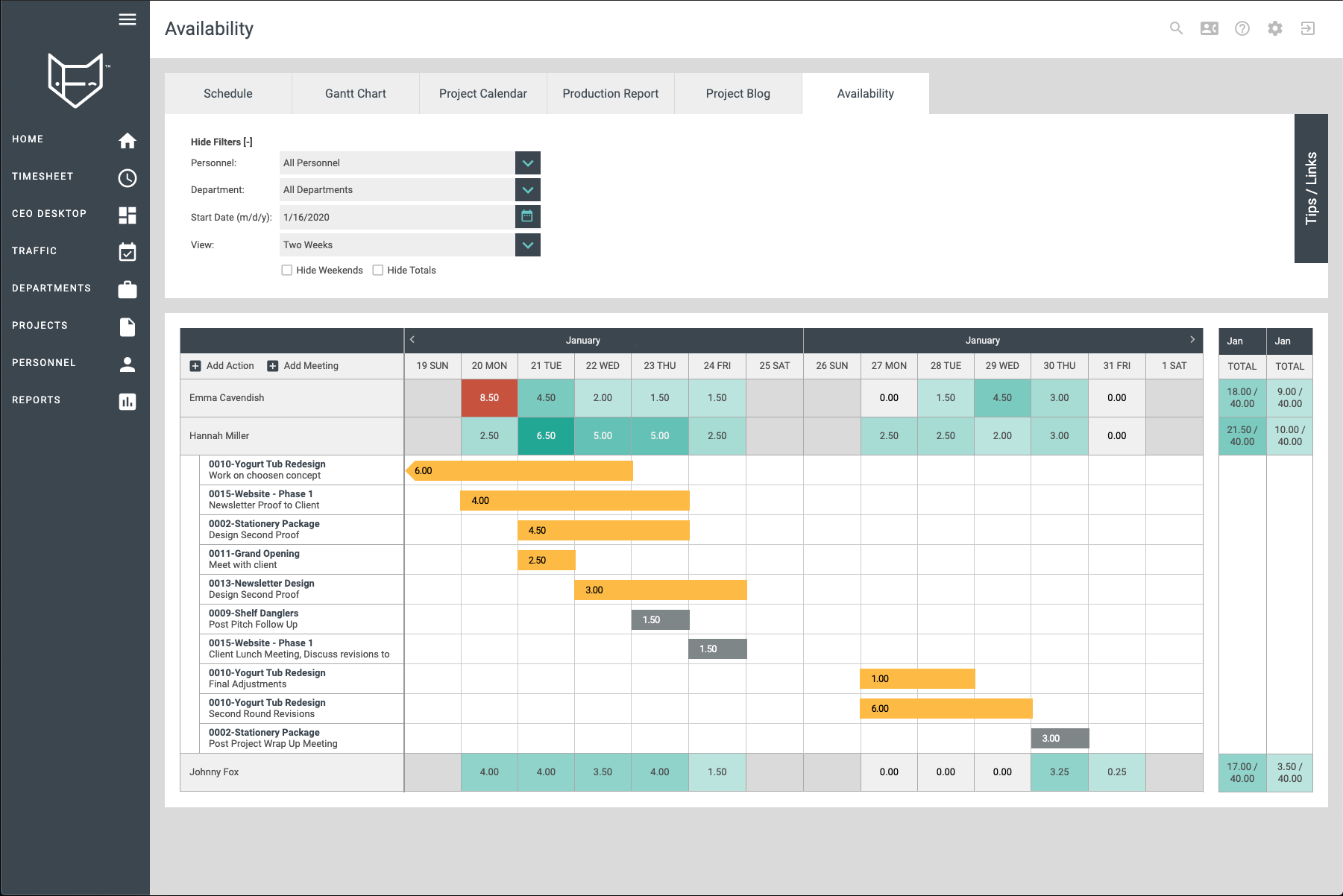 FunctionFox Software - Resource Availability: See how your team resources, adjust work loads or reassign work quickly and efficiently.