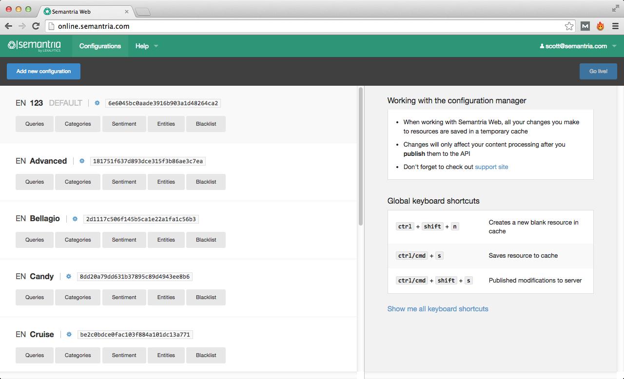 Semantria web configurator