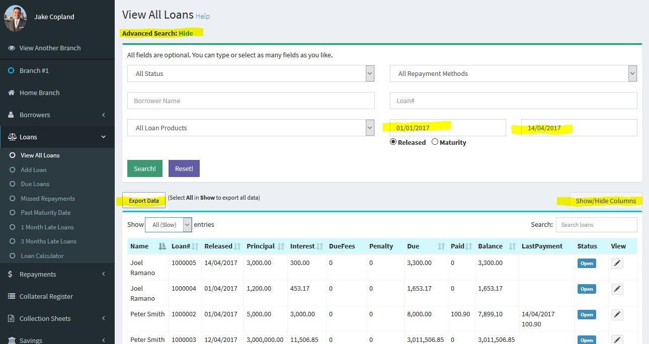 Loandisk disbursed loans overview