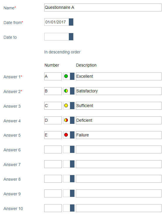 WiAudit Software - Questionnaire rating