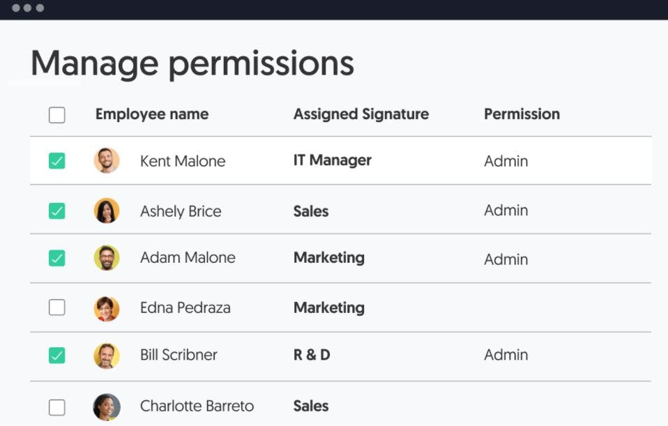 WiseStamp Software - WiseStamp manage permissions