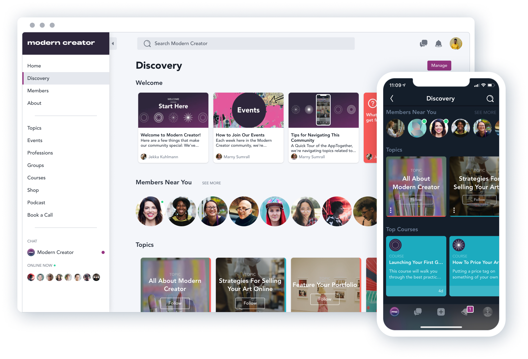Mighty Networks Software - Content can be organized into featured sections to help members easily find what's most important to them and to enable brands and creators to promote the content, events, and courses they care about.