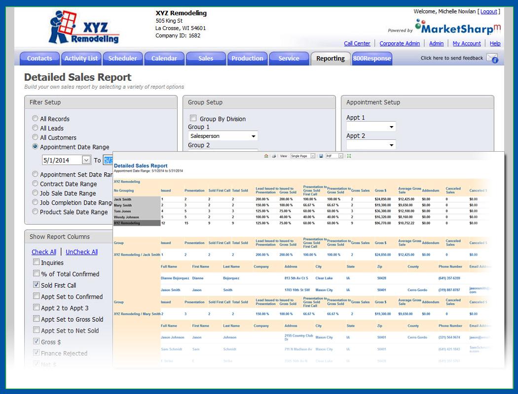 MarketSharp Software - Sales report