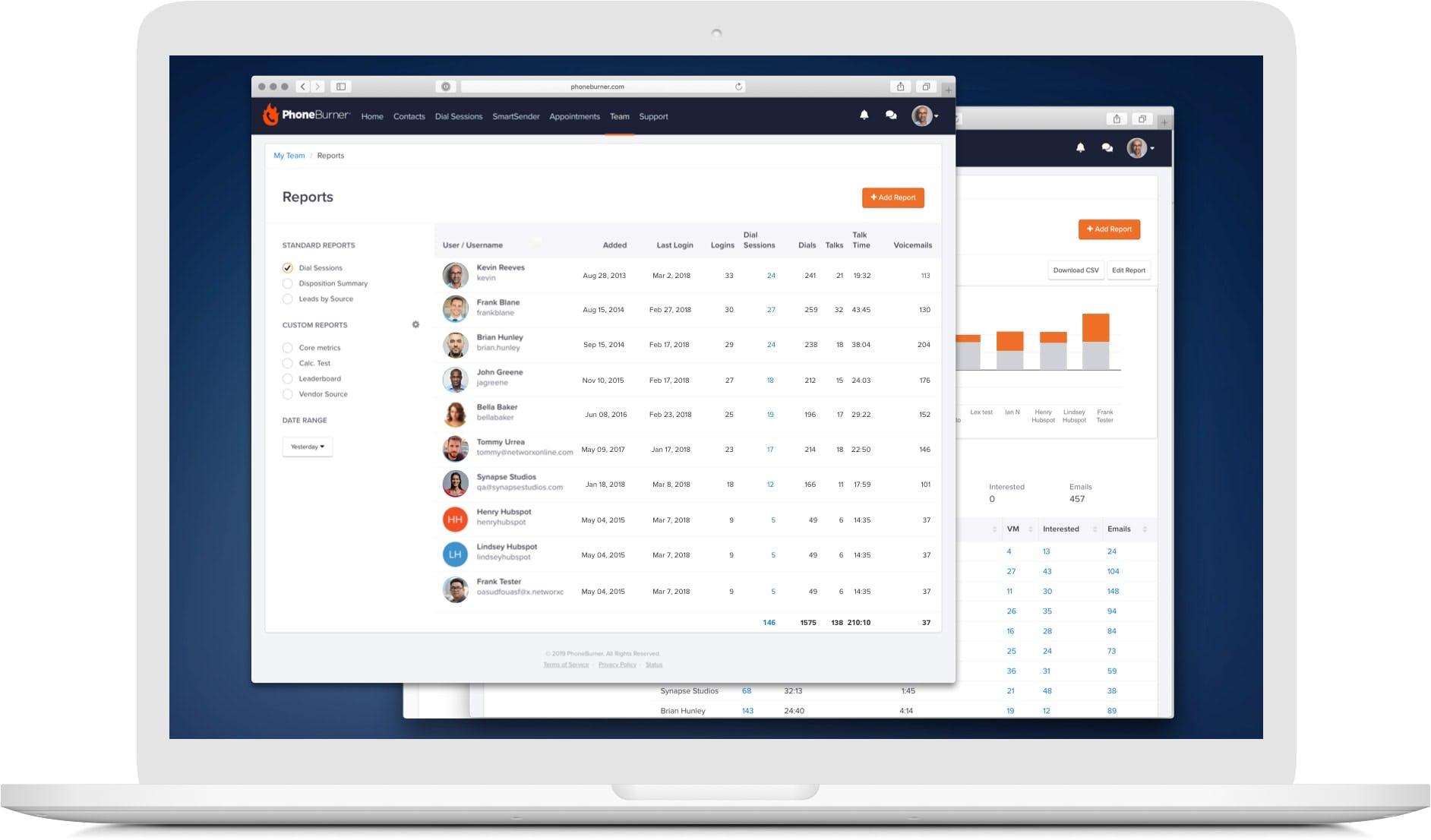 PhoneBurner Software - Custom team reports