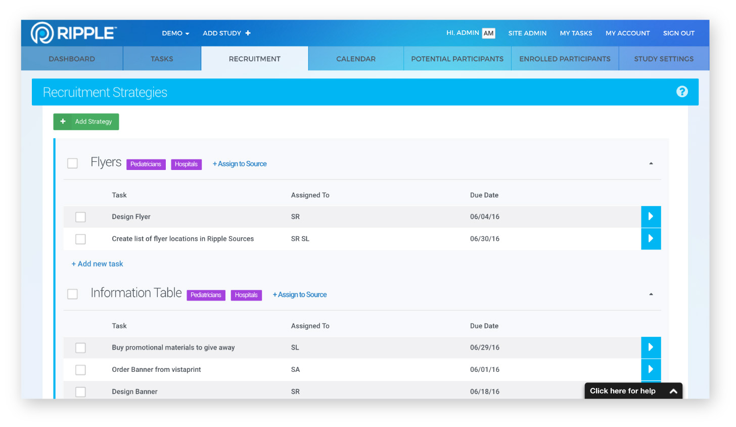 Ripple recruitment campaign management screenshot