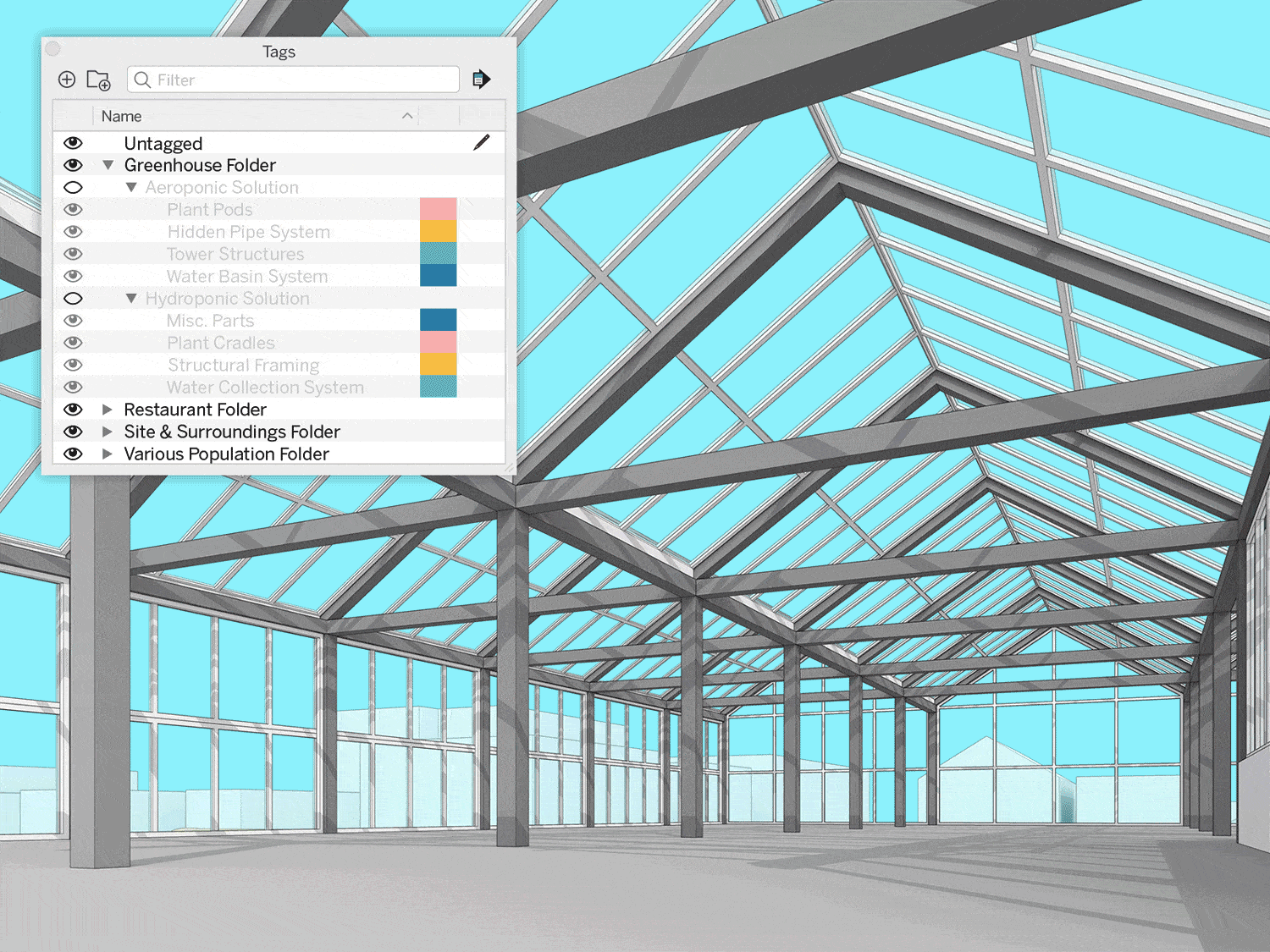 SketchUp's organization tools help keep your complex projects clean. With Tags, you can access components of your model quickly and control visibility in bulk.