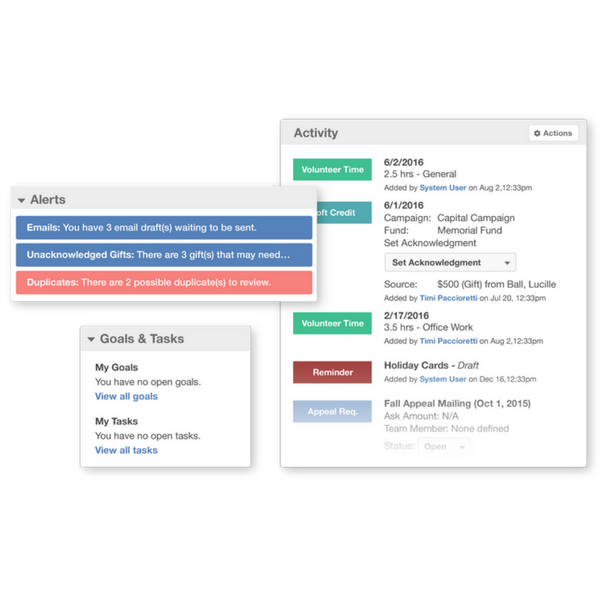 Keep track of activities, goals and tasks