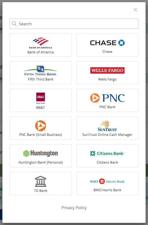 Link to 12,000+ banks to automatically download transactions