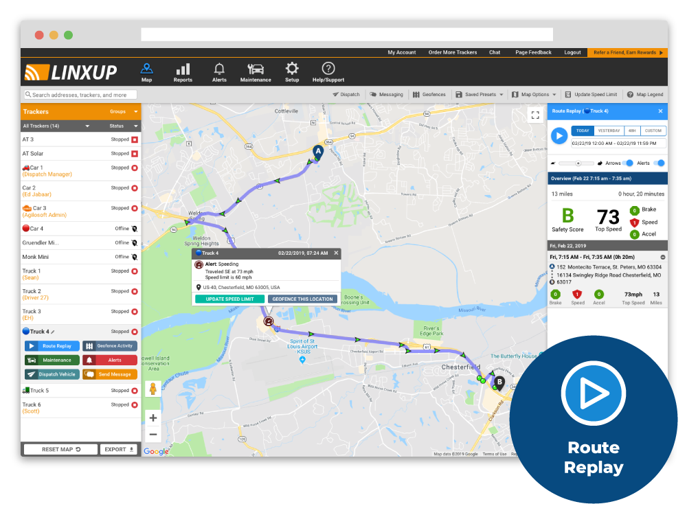 Review detailed driving history using Linxup's intuitive Google Maps interface