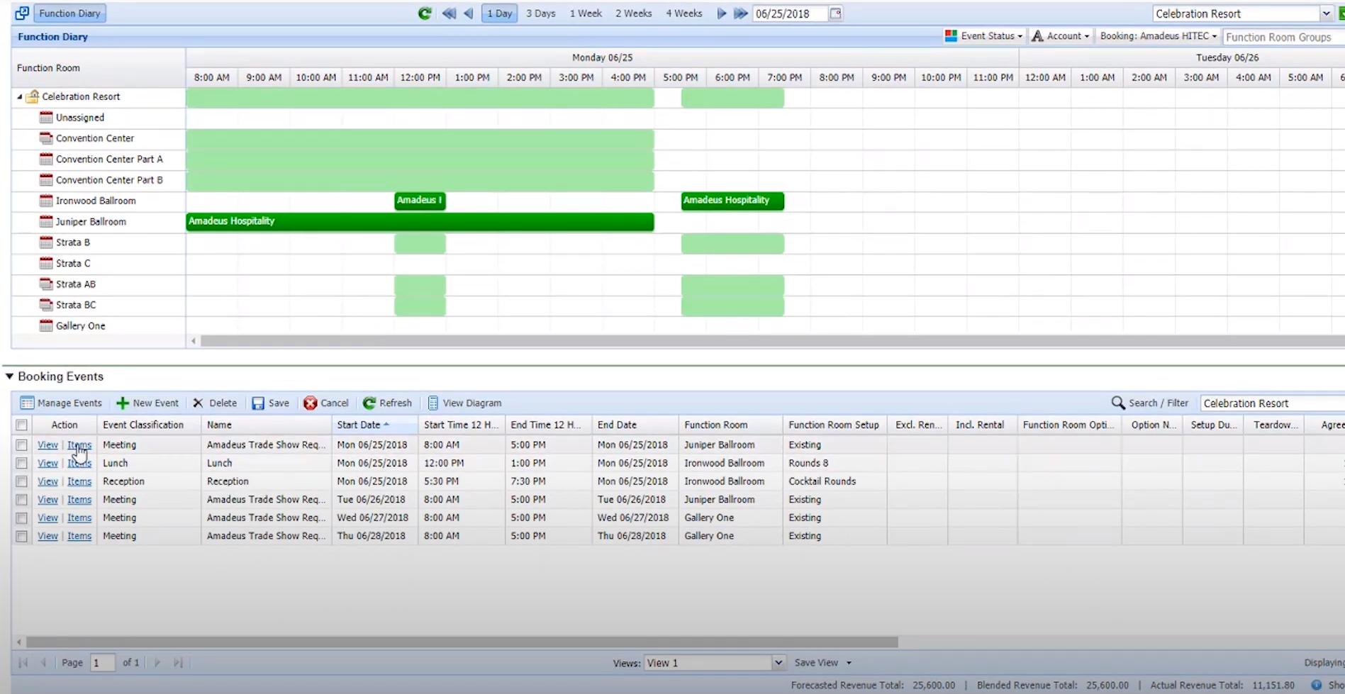 Amadeus Sales & Event Management function diary