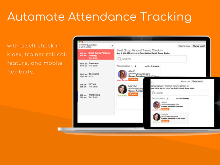 Automate attendance tracking with a self check in kiosk, trainer roll call feature, and mobile flexibility.