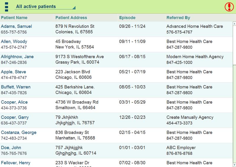 Clinician app patients screen