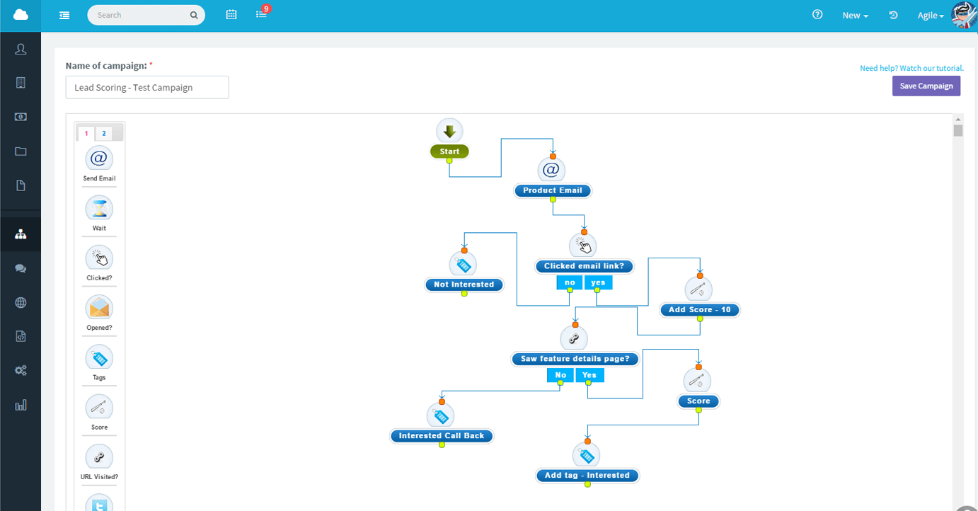 Agile CRM drag and drop interface