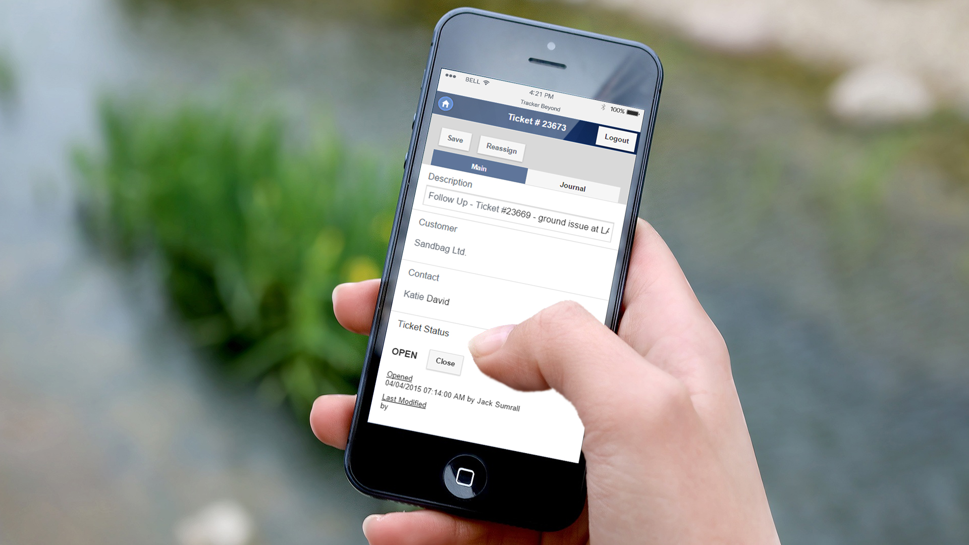 Take the power of Tracker on the go with Tracker Mobile. Shown here working on an iPhone. Tracker Mobile is a powerful web app that you can access from anywhere. Enjoy the features of Tracker in the palm of your hand.