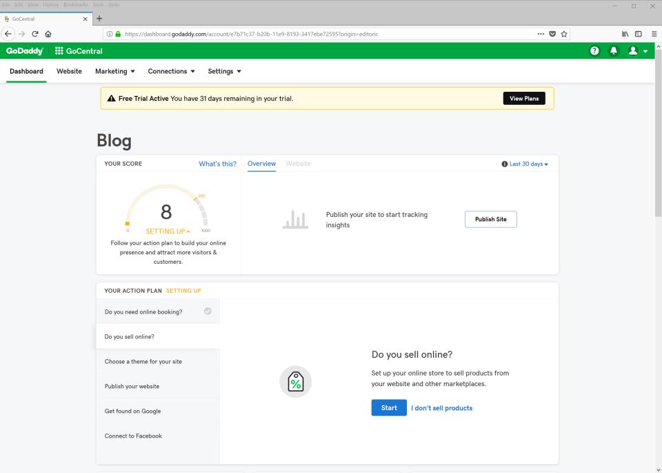 GoDaddy Website Builder dashboard