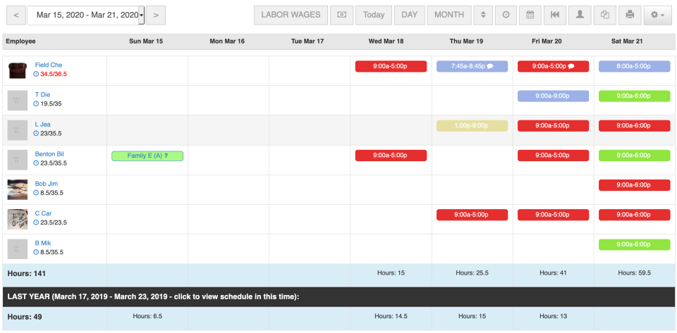 Scheduling page