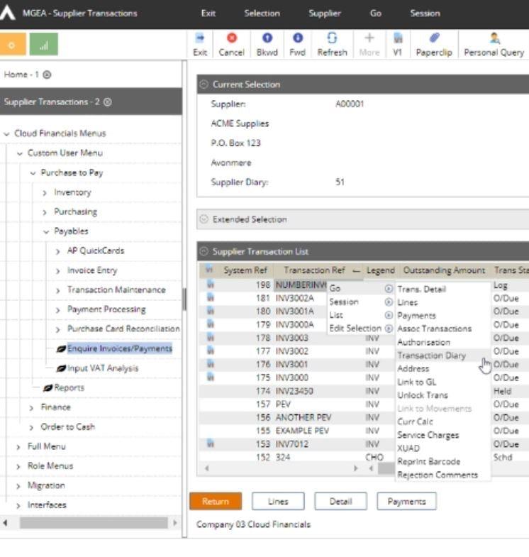 Cloud Financials Software - Cloud Financials supplier transactions
