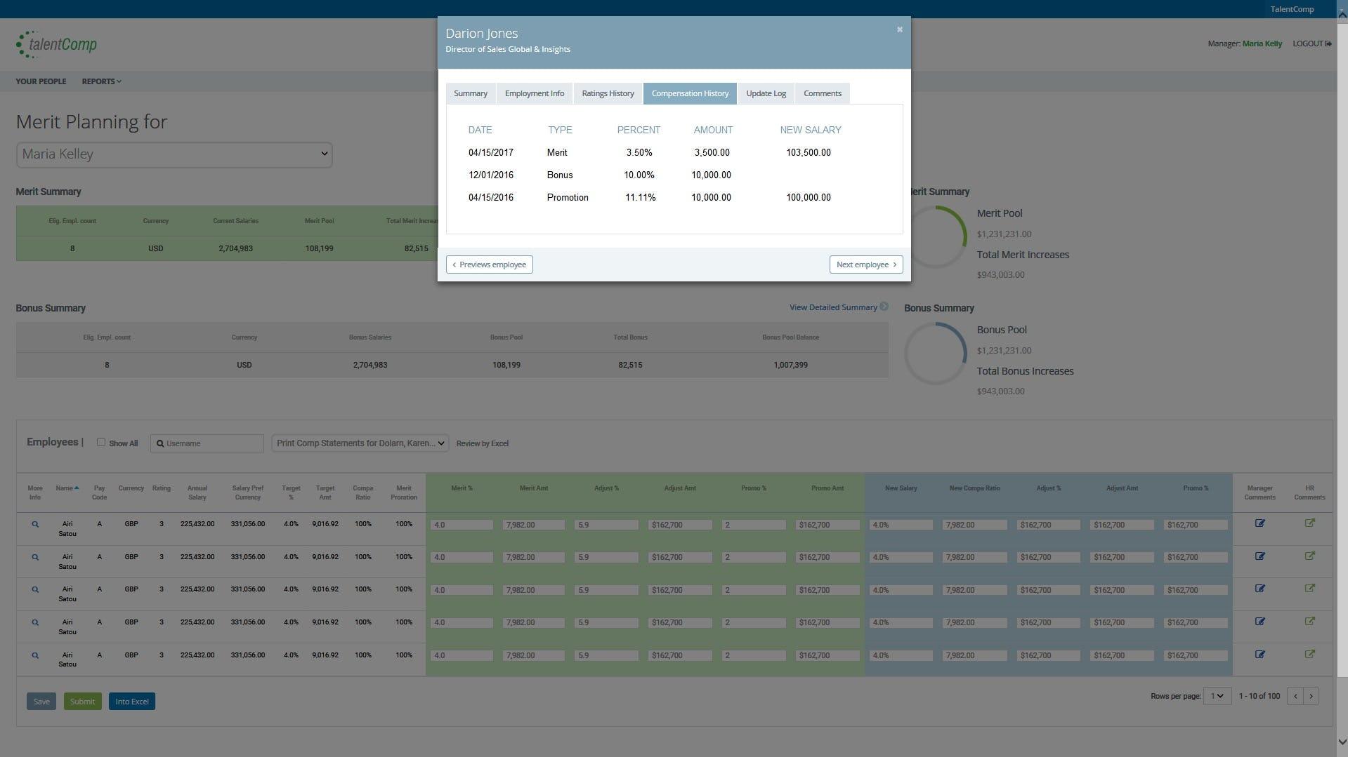 TalentComp Software - Compensation history