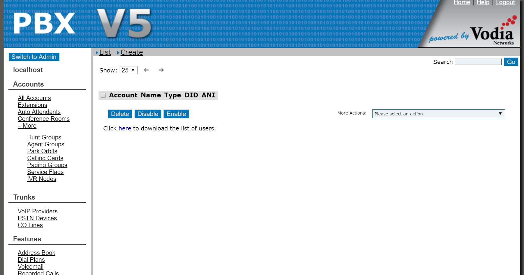 Vodia PBX Software - Create user lists