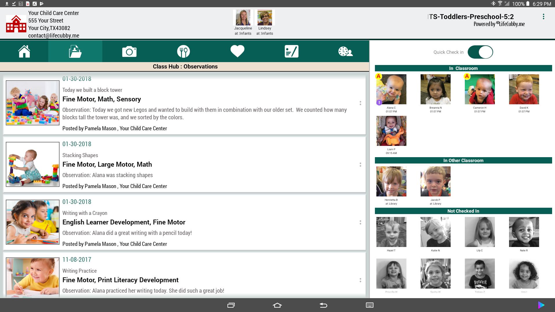 LifeCubby Classroom App Obervations