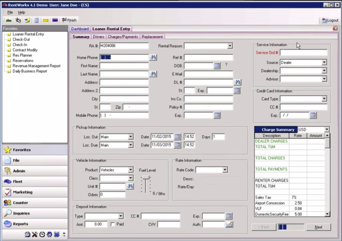 LoanerTrack Software - Add new renter information and details into the database with LoanerTrack