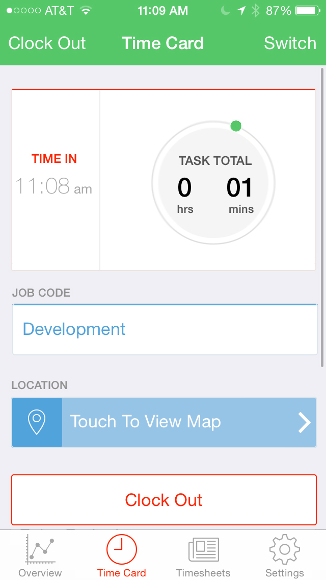 Clock out using iOS mobile app