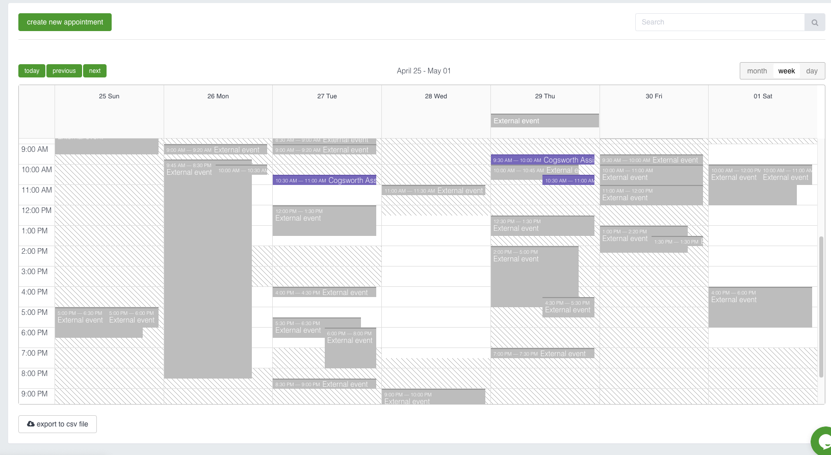 Cogsworth Software - Backend appointments overview