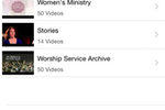 TouchPoint screenshot: Members can also watch church video recordings through TouchPoint