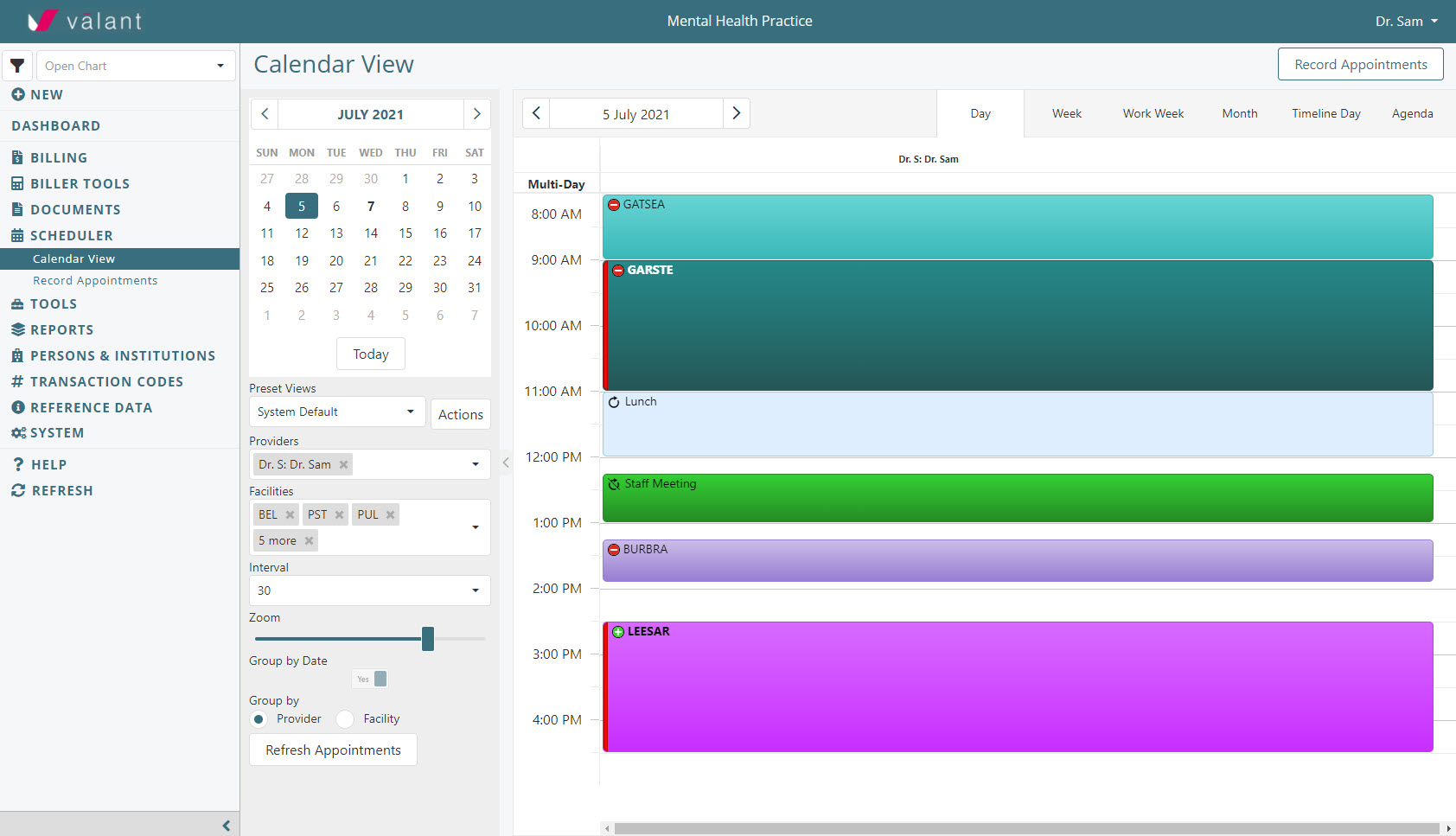 Valant's Scheduler provides and integrated calendar experience to keep your practice running smoothly and efficiently.