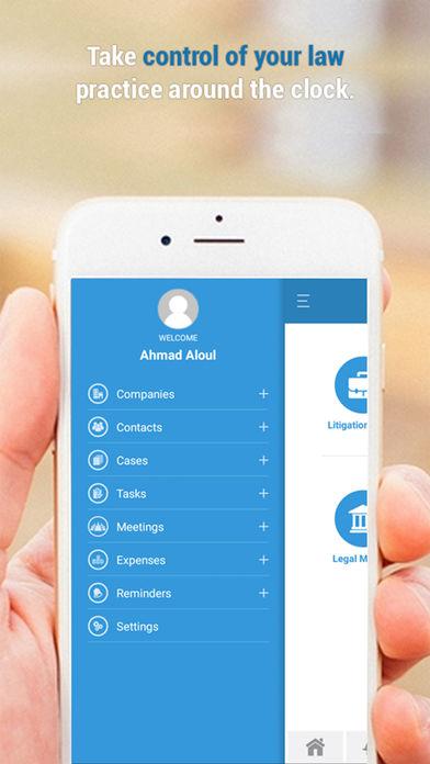 App4Legal mobile app menu