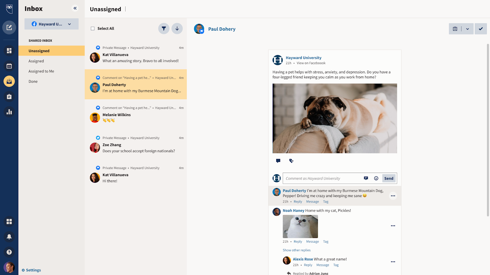 Customer Engagement: Never miss a message and respond to customer inquiries faster with a consolidated stream of messages across networks that can be triaged and assigned. Provides optional chatbot handover for automated responses.