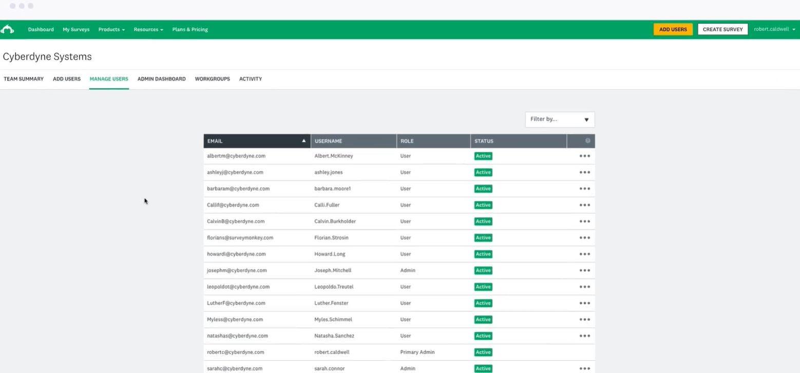 SurveyMonkey Enterprise user management