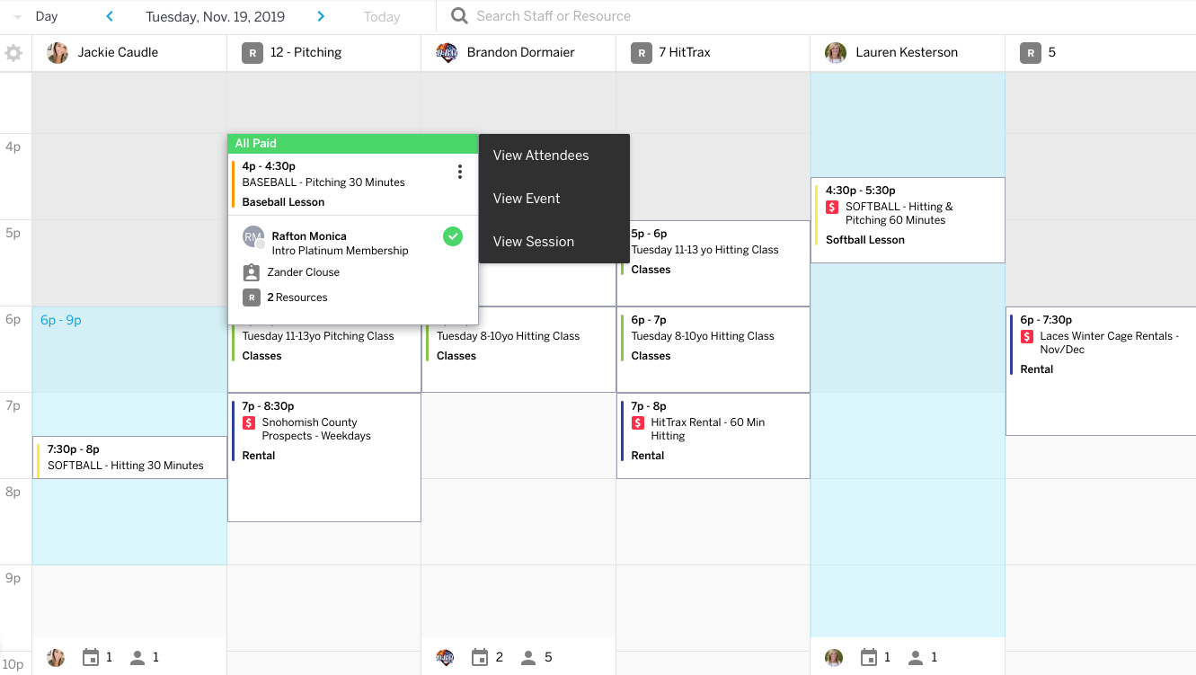 Calendar with quick-actions.