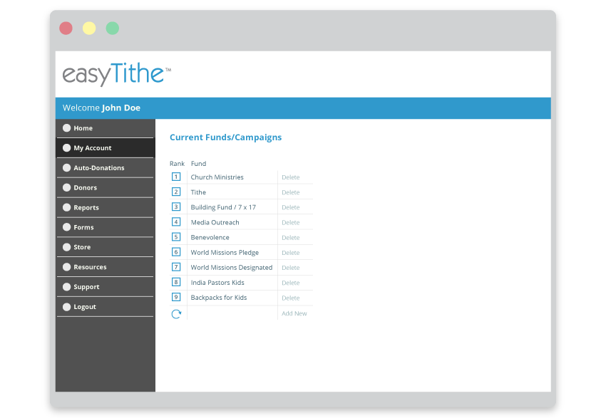 easyTithe personalized user account