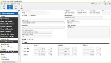 STORIS Software - Customer activity screen