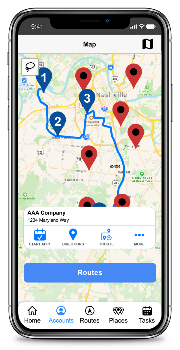 CallProof Software - View accounts on a map, book appointments, get directions, add to Routes and more