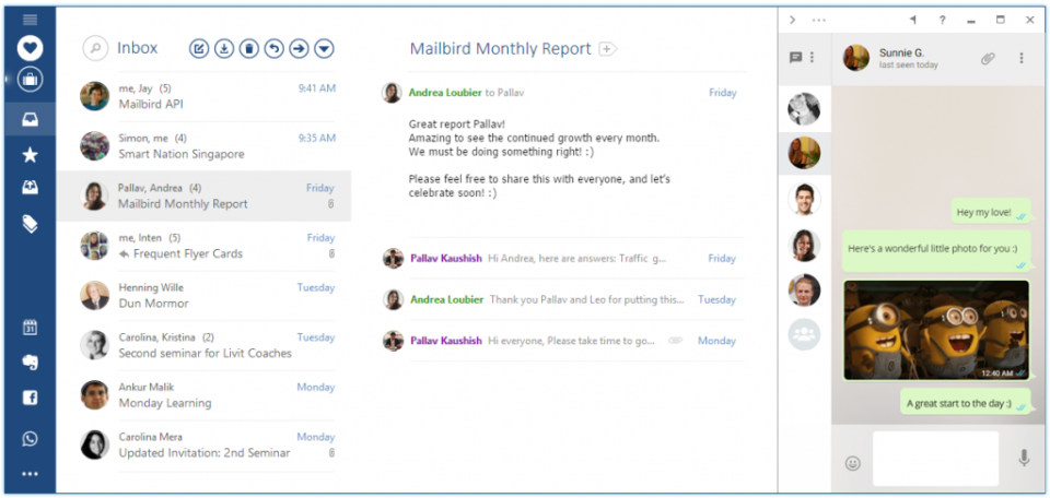 MailBird screenshot: Mailbird inbox