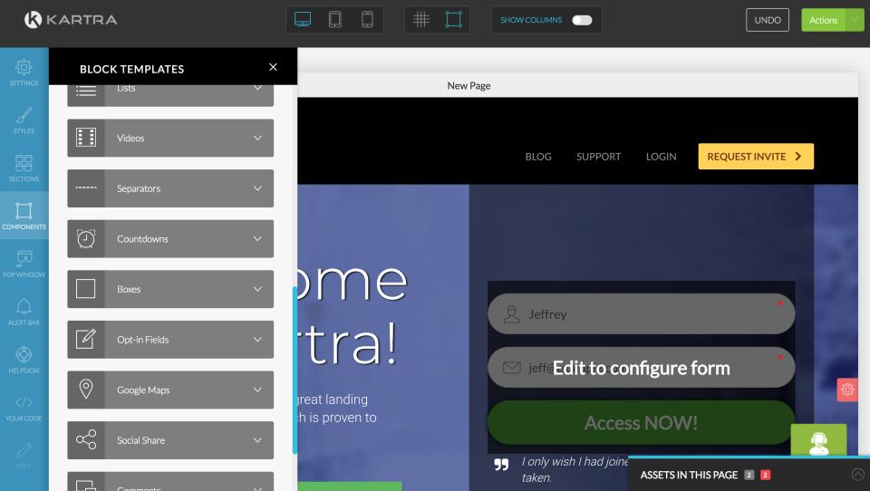 Kartra drag & drop page builder screenshot