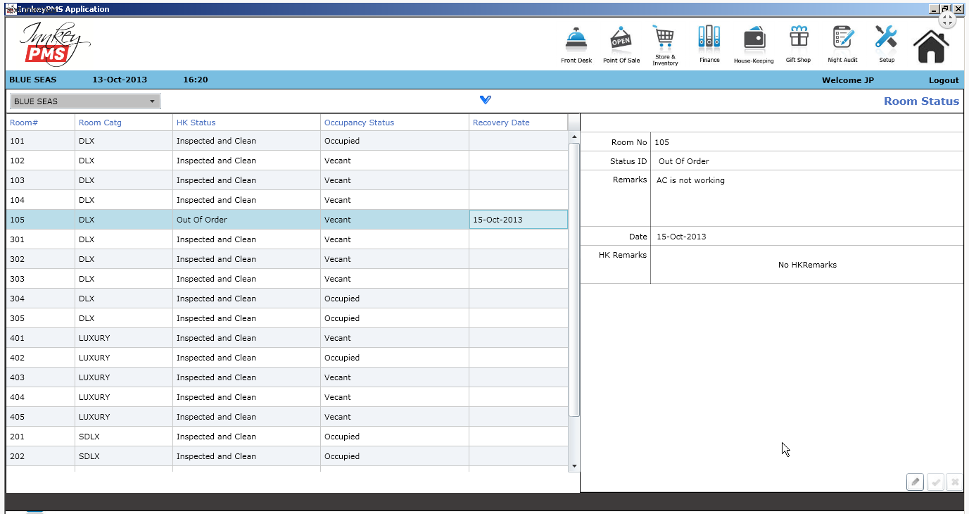 Innkey PMS Software - Room status