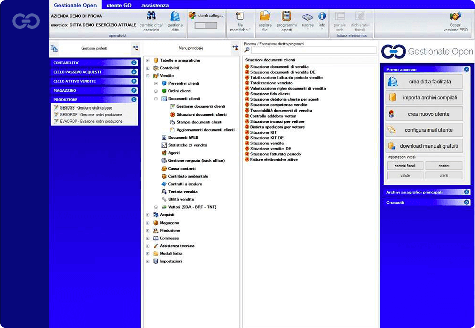 Gestionale Open main interface
