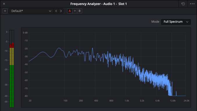 DaVinci Resolve frequency analyzer