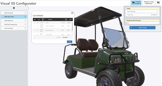 Powertrak CPQ Software Suite screenshot: Visualize products during customizations