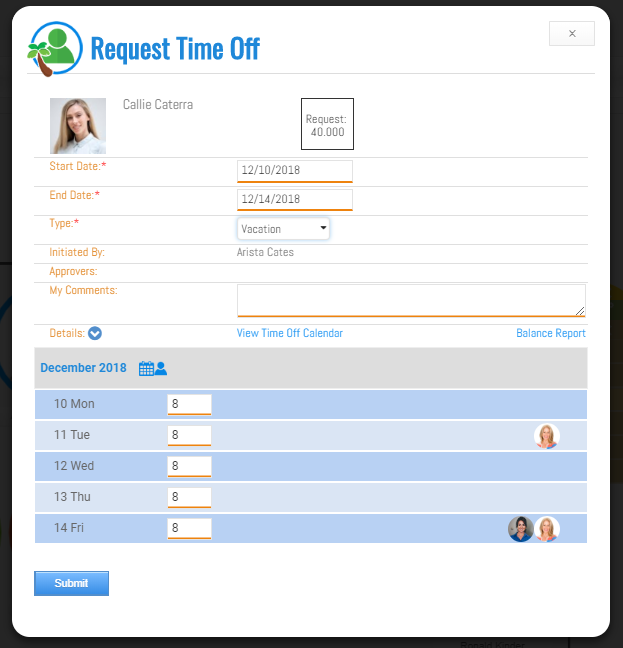 Time off requests can be made by employees