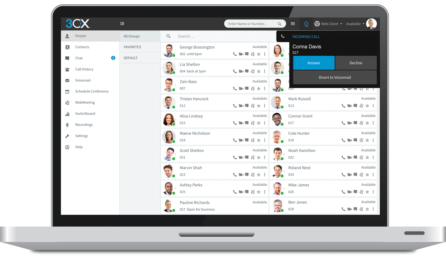 3CX screenshot: See all your team in one unified management console. Avoid unnecessary call transfers or voice mail tags, and make managing and working with remote employees easier than ever.
