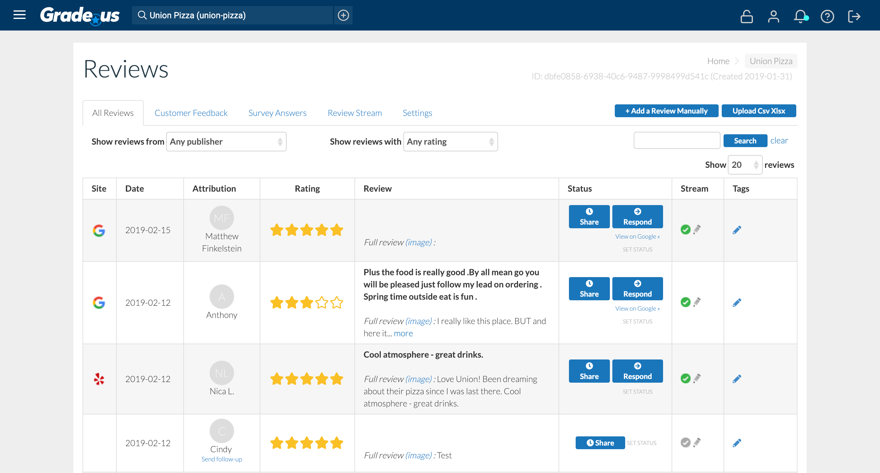 "Grade.us monitors all major, minor, and industry review sites in a single ""command center."" Set the status for actions to be taken on each review by you or your staff."
