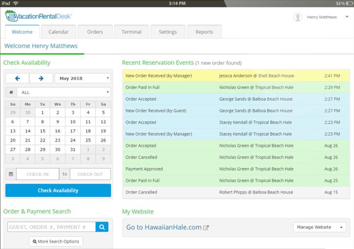 Vacation Rental Desk Software - Reservation events