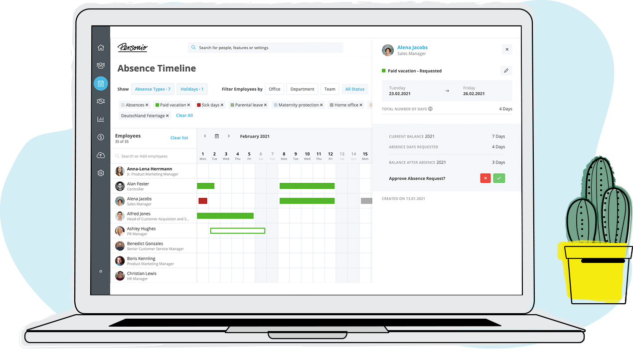Personio allows employees and managers to plan their absences autonomously. Simply have employees request leave and other types of absences online and managers approve requests with the click of a button.